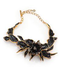 Oscar de la Renta | Black Orchid Enamel Necklace | Lyst