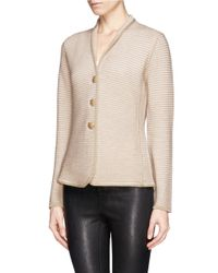 Armani - Brown Rib Knit Jacket - Lyst