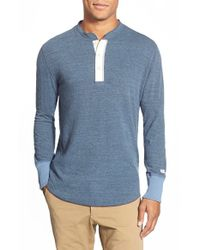 Todd Snyder | Blue Regular Fit Long Sleeve Cotton Henley for Men | Lyst
