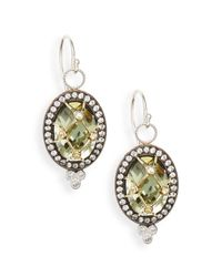 Jude Frances | Green Amethyst, White Sapphire & 18k Yellow Gold Earrings | Lyst