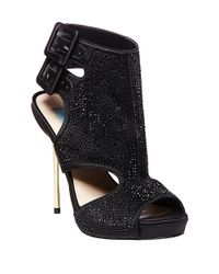 Betsey Johnson | Black Rhinestone-Studded Platform Sandals | Lyst