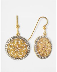 Lord & Taylor | Metallic 14k Gold Two Tone Circle Drop Earrings | Lyst