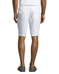 Neiman Marcus - White Fixed-waist Linen Shorts for Men - Lyst