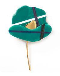 Marni | Green Tartan Poppy Brooch | Lyst