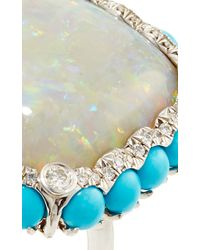 Nina Runsdorf - Multicolor 18K White Gold White Opal Ring With Turquoise - Lyst