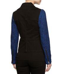 Stella McCartney - Black Tweed-sleeve Denim Jacket - Lyst