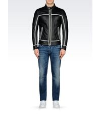 Armani Jeans - Black Blouson In Perforated Effect Lambskin for Men - Lyst