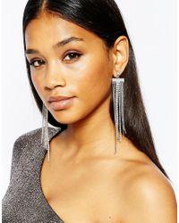 Lipsy | Metallic Crystal Statement Fringe Earrings | Lyst