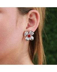 Katherine Jetter - White Fire Opal Flower Earrings - Lyst
