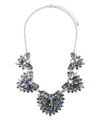 Forever 21 | Metallic Rhinestone Flower Statement Necklace | Lyst