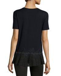 Thakoon - Black Cotton Jersey Top W/ Lace Detail - Lyst