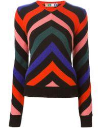 MSGM - Black Zig Zag Intarsia Knit Sweater - Lyst