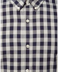 ASOS - Gray Smart Shirt in Long Sleeve with Gingham Check for Men - Lyst