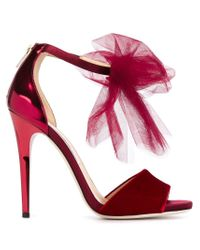 Jimmy Choo - Red Lilyth Velvet and Leather Sandals - Lyst