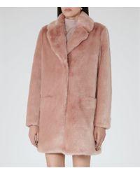 Reiss - Pink Alba Faux-fur Coat - Lyst