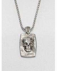 Stephen Webster - Metallic Sterling Silver Skull Dog Tag Necklace - Lyst