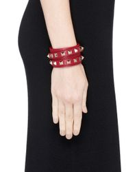 Valentino - Red 'rockstud' Double Wrap Leather Bracelet - Lyst