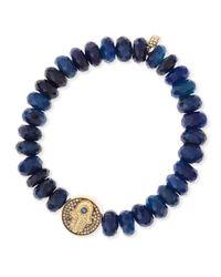 Sydney Evan | Blue Diamond Hamsa Charm Chalcedony Bead Bracelet | Lyst