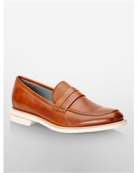 Calvin Klein | Brown White Label Yurik Leather Loafer | Lyst