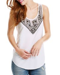 Jessica Simpson | Natural Bead-embellished Blouse | Lyst