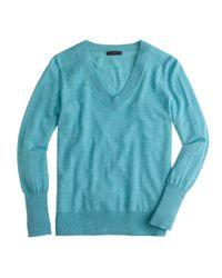 J.Crew - Blue Merino Wool V-neck Sweater - Lyst