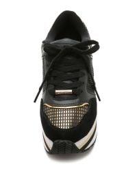 DKNY - Metallic Jill Runway Platform Sneakers - Black/Dark Gold - Lyst
