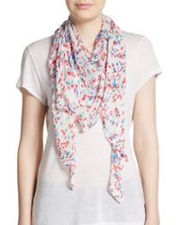 Saks Fifth Avenue - White Floral-Print Scarf - Lyst