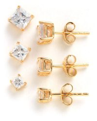 Lord & Taylor | Metallic 18k Gold Over Sterling Silver And Cubic Zirconia Stud Earrings Set | Lyst