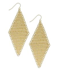 ABS By Allen Schwartz | Metallic Goldtone Chain Mesh Kite Drop Earrings | Lyst