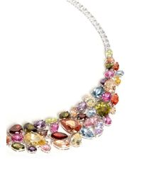 CZ by Kenneth Jay Lane | Multicolor 'musi' Rose Petal Zirconia Gemstone Necklace | Lyst
