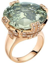 BVLGARI | Metallic Parentesi 18Ct Pink-Gold, Green-Quartz And Diamond Cocktail Ring - For Women | Lyst