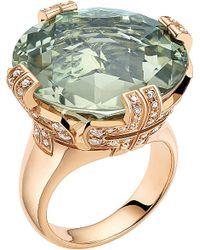 BVLGARI - Metallic Parentesi 18Ct Pink-Gold, Green-Quartz And Diamond Cocktail Ring - For Women - Lyst