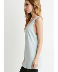 Forever 21 - Blue V-neck Pocket Tank - Lyst