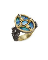 Armenta | Blue Old World Fleur De Lis Diamond & Boulder Opal Ring | Lyst