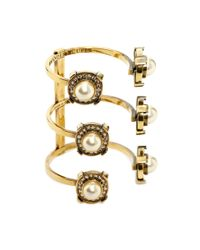 Alexander McQueen | Yellow Crystal & Pearly Golden Military Bracelet | Lyst