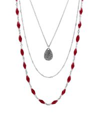 Lucky Brand - Gifting Lucky Layers Red Jade Nested Necklace - Lyst