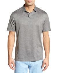 Peter Millar Gray 'concord' Tailored Fit Silk & Cotton Polo for men