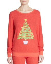 Wildfox - Pink Christmas Tree Graphic Sweatshirt - Lyst