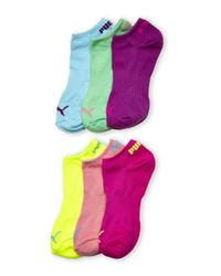PUMA - Blue 6-Pack No-Show Logo Socks - Lyst
