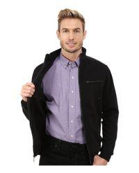 Calvin Klein - Black Full Zip Solid Textured Ponte Jacket for Men - Lyst