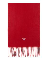 Barbour - Red Plain Lambswool Scarf - Lyst