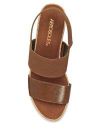 Aerosoles | Brown Green Light Slingback Wedge Sandals | Lyst