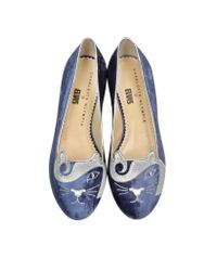 Charlotte Olympia - The King Kitty Unplugged Dark Blue Embroidered Velvet Flats - Lyst