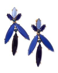 Oscar de la Renta | Blue Marquise Resin Drop Clip-On Earrings | Lyst