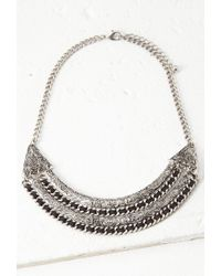 Forever 21 Metallic Thread-woven Etched Necklace