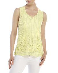 Joan Vass | Yellow Crochet Split Back Tank | Lyst
