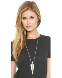 Noir Jewelry | Black Crystal Arrow Necklace - Rhodium/Clear | Lyst