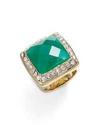 Trina Turk | Green Square Jeweled Cocktail Ring - Multi | Lyst