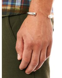 Bottega Veneta - Metallic Intrecciato Silver and Leather Bracelet for Men - Lyst