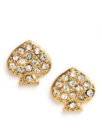 Kate Spade | Metallic Signature Spade Crystal Stud Earrings | Lyst